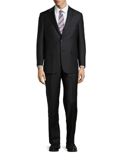 Solid Two-Button Two-Piece Suit by Hickey Freeman in Self/Less