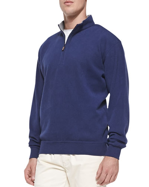 Cotton-Fleece Zip Pullover Sweater by Peter Millar in Mr. & Mrs. Smith