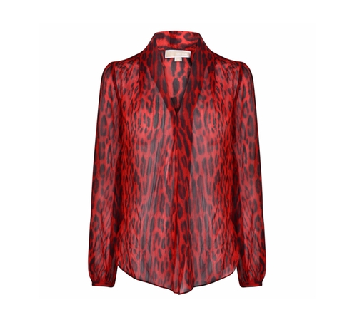 Pleated Leopard Print Blouse by Michael Kors in Animal Kingdom