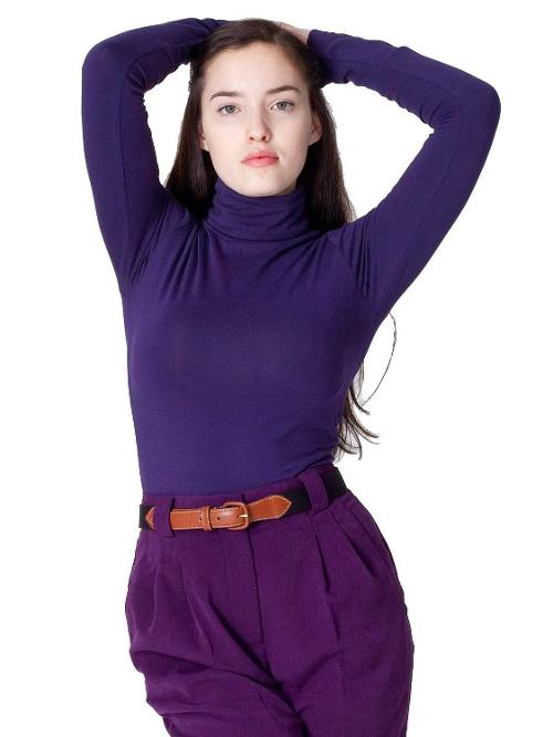 Women's Cotton Spandex Jersey Long Sleeve Turtleneck Tee by American Apparel in If I Stay