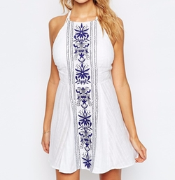 Panel Embroidered High Neck Cross Back Beach Dress by Asos in Jane the Virgin