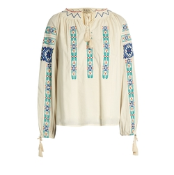 Folk Embroidered Cotton Blouse by Sea in Billions