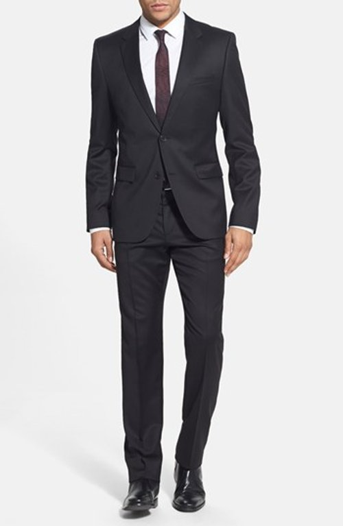'Aeron/Hamen - Super Black' Extra Trim Fit Wool Suit by Hugo in Crazy, Stupid, Love.