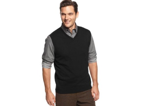 Solid V-Neck Sweater Vest by Tasso Elba in That Awkward Moment