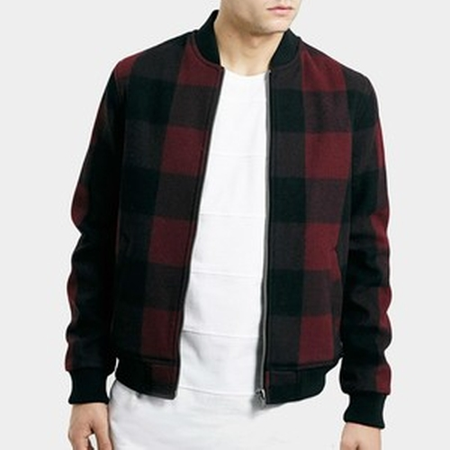 Buffalo Check Bomber Jacket by Topman in Pretty Little Liars - Season 6 Episode 1