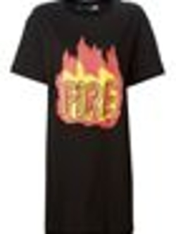'Fire' Print Oversized T-Shirt by Love Moschino in Mean Girls