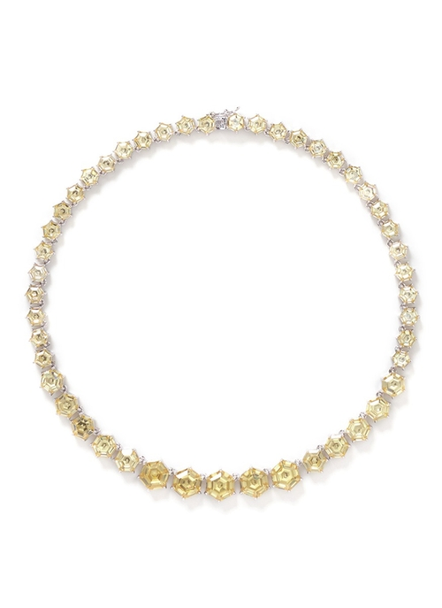 Honeycomb Cut Cubic Zirconia Necklace by Kenneth Jay Lane in Masterminds