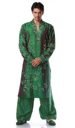 Dark Green Art Dupion Silk Men's Kurta Pajama by Indian Fashion Trend in Million Dollar Arm