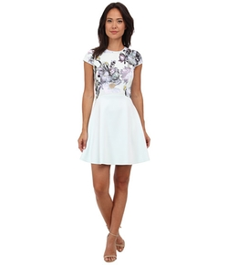 Faythe Torchlit Floral Skater Dress by Ted Baker in Black-ish