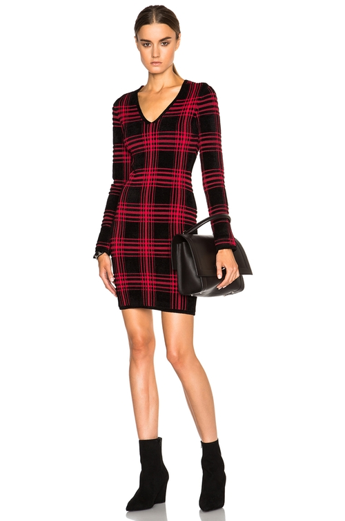 Buffalo Plaid V Neck Long Sleeve Dress by Alexander Wang in The Good Wife - Season 7 Episode 3