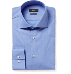 Spread-Collar End-On-End Shirt by Hugo Boss in The World is Not Enough