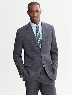 Tailored-Fit Plaid Wool Suit Jacket by Banana Republic in Spy