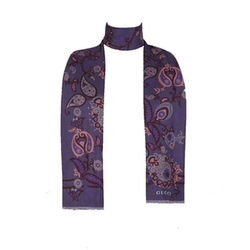 Purple Paisley Print Double-Sided Silk Scarf by Gucci in Empire