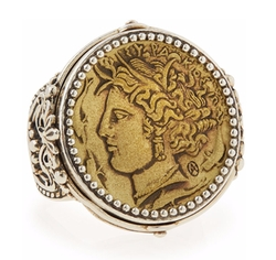 Silver & Bronze Demeter Coin Ring by Konstantino in The Boss
