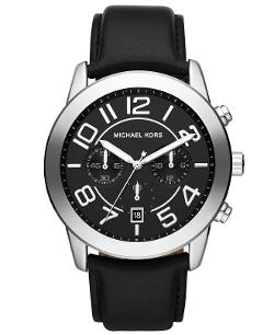 Men's Chronograph Mercer Black Leather Strap Watch by MICHAEL KORS in This Is Where I Leave You