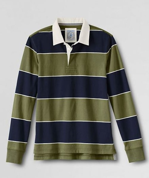Long Sleeve Striped Jersey Rugby Polo Shirt by Land's End in Get Hard