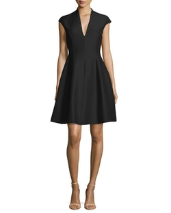 Structured Cap-Sleeve Dress by Halston Heritage in Mistresses