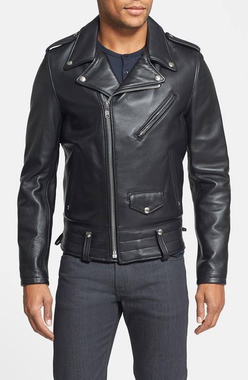 'Chips' Moto Leather Jacket by Schott NYC in Survivor