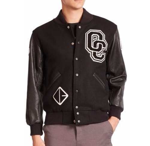 Logo Leather-Sleeve Varsity Jacket by Opening Ceremony in Justice League