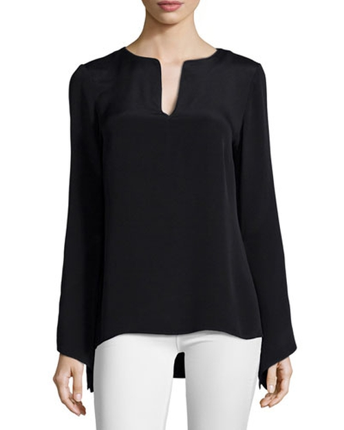 Cole Long-Sleeve Split-Neck Blouse by Ramy Brook	 in Keeping Up With The Kardashians - Season 11 Episode 3
