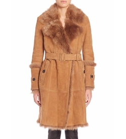 Northcote Suede Shearling Coat by Burberry in Mr. Robot
