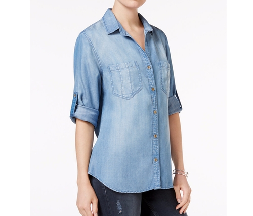 Grace Tab-Sleeve Denim Shirt by Velvet Heart in Animal Kingdom