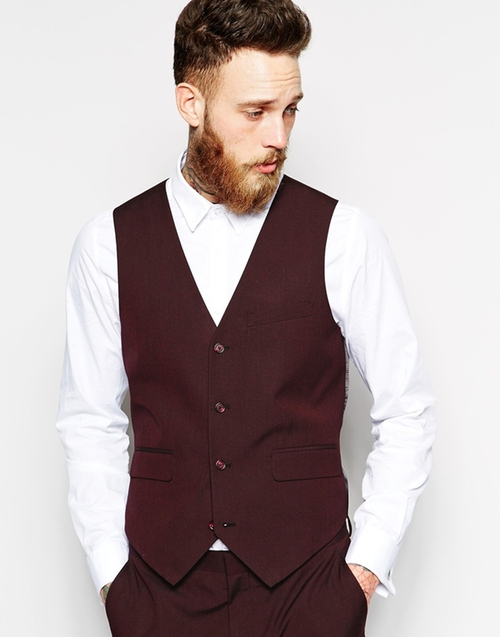 Slim Fit Vest In Burgundy Pindot by Asos in Empire - Season 2 Episode 1