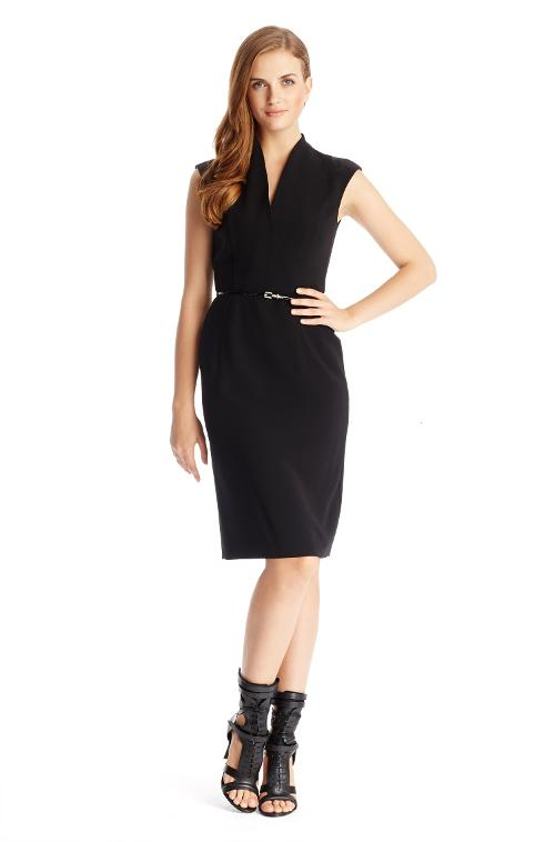 'Difena' Sleeveless Stretch Belted V-neck Dress by Hugo Boss in The Other Woman