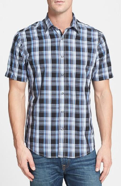 'Monitiel Plaid' Short Sleeve Sport Shirt by James Campbell in Sabotage