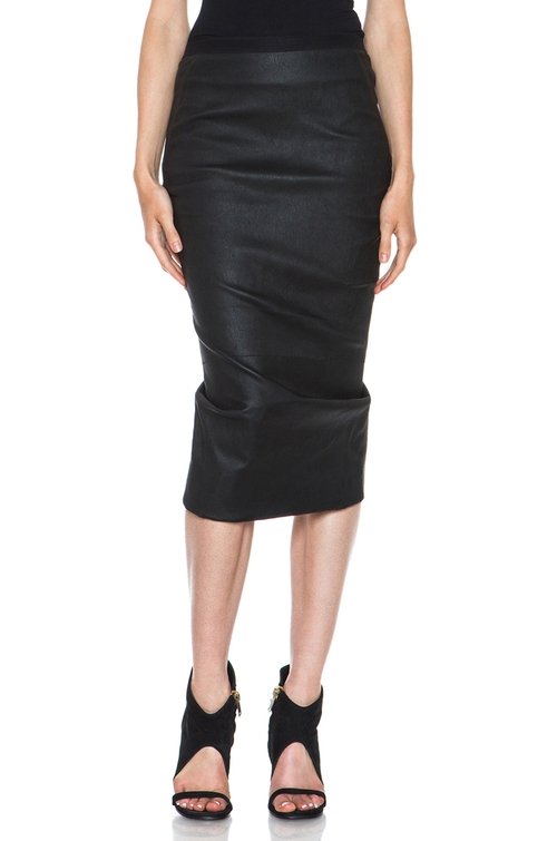 Stretch Pillar Leather Skirt in Black by Rick Owens in The Other Woman