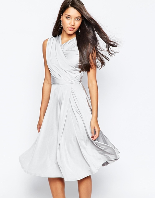 Slinky Twist Front Midi Dress by Asos Collection in Crazy, Stupid, Love.