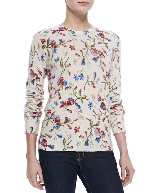 Cashmere Sloane Floral-Print Sweater by Equipment in The Big Bang Theory - Season 9 Episode 20
