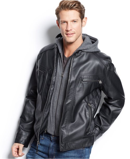 Hooded Faux Leather Moto Jacket by Calvin Klein in Run All Night