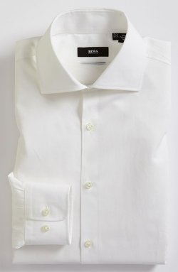 Miles Sharp Fit End-on-End Dress Shirt by Hugo Boss in Neighbors