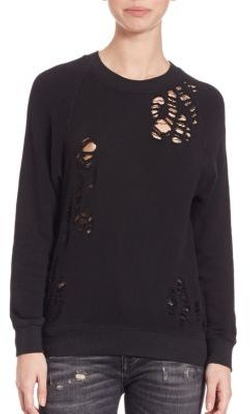 Distressed Side-Zip Sweater by R 13 in The Bachelorette