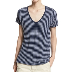 Striped V-Neck Tee by Vince in Power Rangers