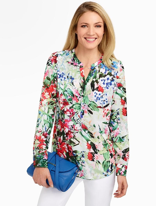 Floral Band-Collar Shirt by Talbots in The Visit