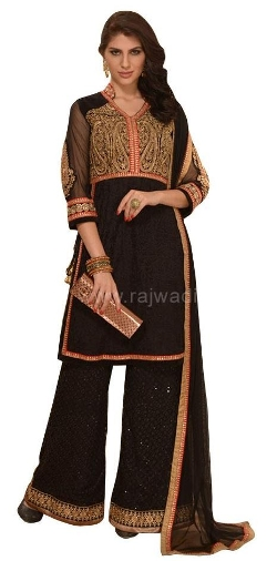 Winsome Wedding Wear Black Pakistani Suit by Rajwadi in The Second Best Exotic Marigold Hotel