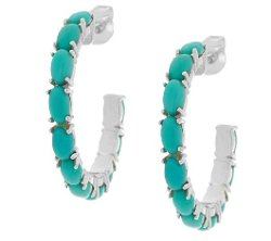 Sleeping Beauty Turquoise Sterling Hoop Earrings by QVC in Pitch Perfect 2