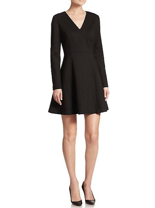 Ponte V-Neck Long-Sleeve Dress by Saks Fifth Avenue Collection in Jessica Jones