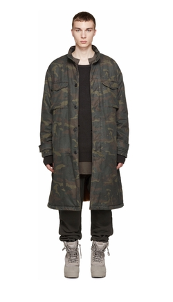 Brown & Green Camouflage Trenchcoat by Yeezy Season 1 in Keeping Up With The Kardashians