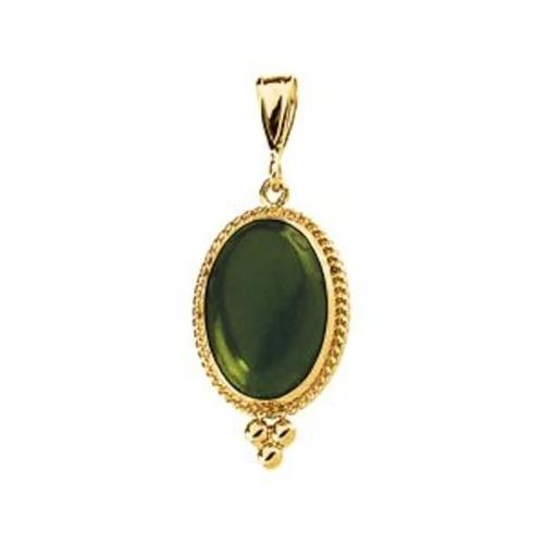 Genuine Jade Cabochon Pendant in 14k Yellow Gold by Bonyak Jewelry in Couple's Retreat
