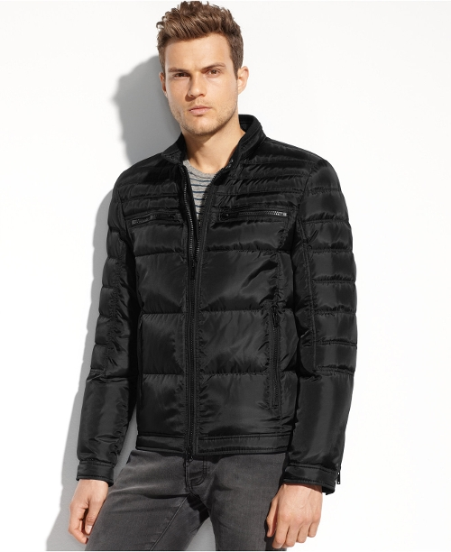 Quilted Down Moto Jacket by Guess Coats in Adult Beginners