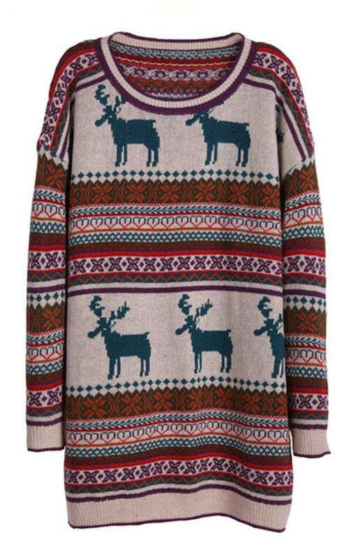 Light Khaki Deer Fair Isle Christmas Pattern Oversized Sweater by Sheinside in If I Stay