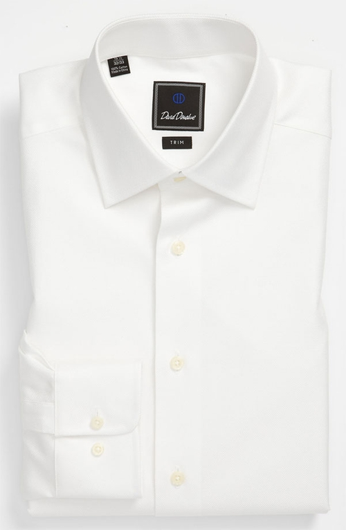 Trim Fit Solid Dress Shirt by David Donahue in Steve Jobs
