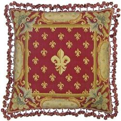 Throw Pillow Handwoven Red Fleur-De-Lis Tassel Trim by Aubusson in Savages