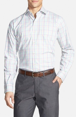 Regular Fit Mélange Check Sport Shirt by Peter Millar in Steve Jobs