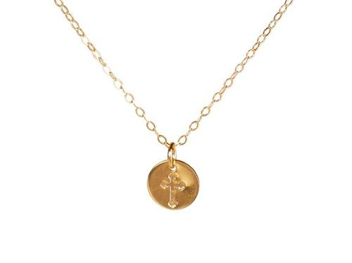 Tiny Gold Cross Necklace by Efy Tal Jewelry in Project Almanac