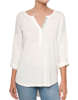 Button-Tab Henley Tee Shirt by Splendid in Love & Mercy