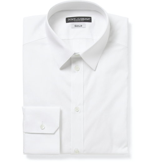 White Gold-Fit Cotton-Blend Shirt by Dolce & Gabbana in Suits